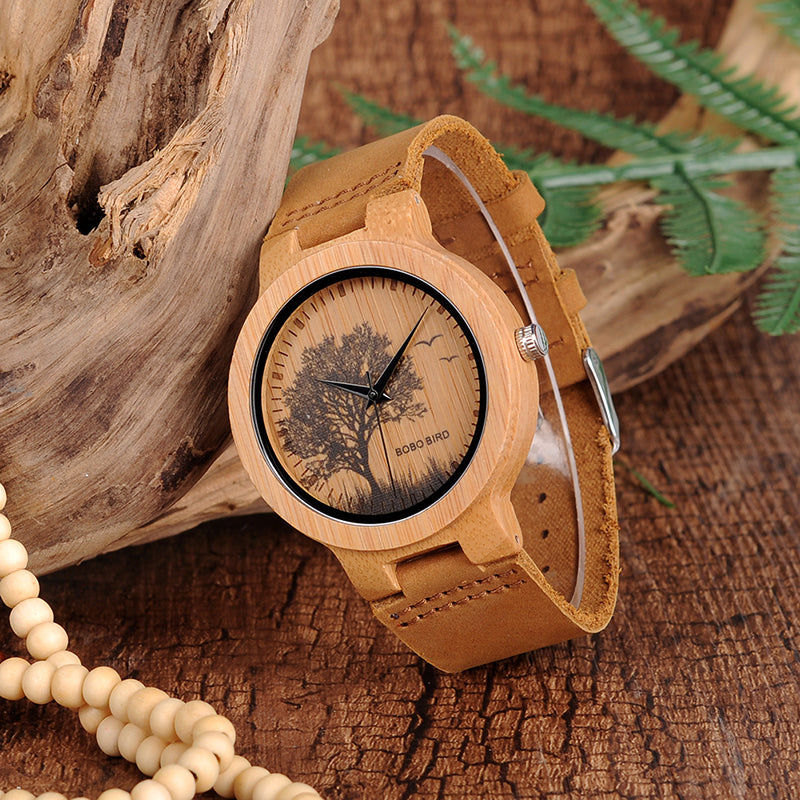 tree watch with bamboo and leather