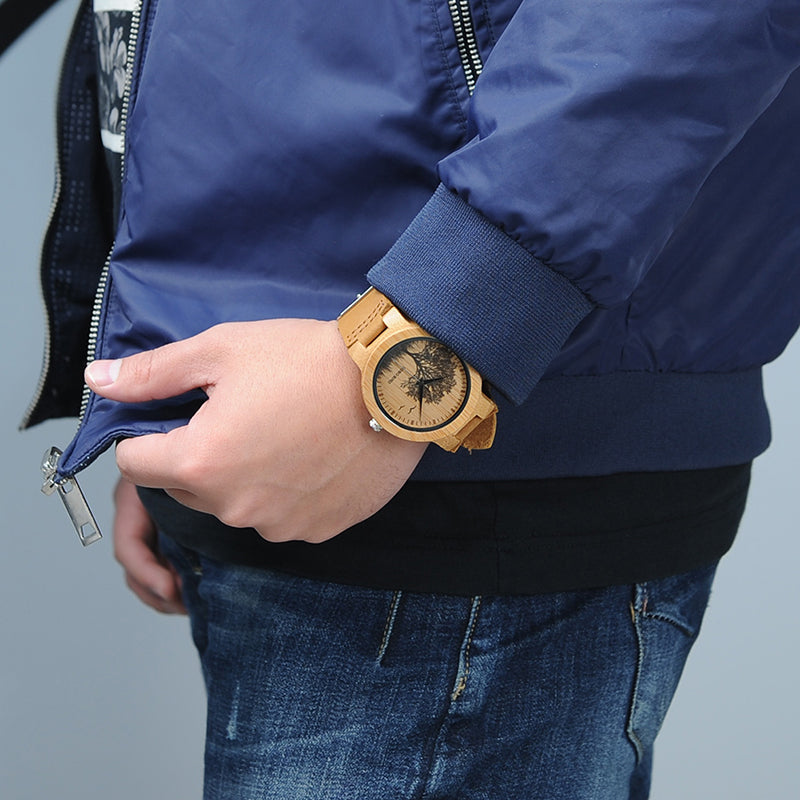 man wearing wooden watch
