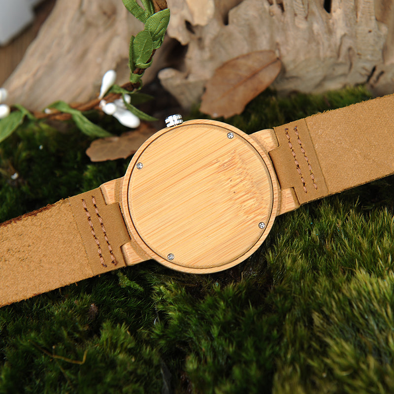 backside of wooden watch bamboo with leather straps