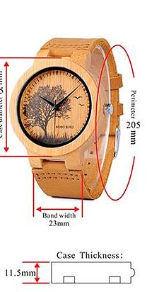 specifications of wooden watch
