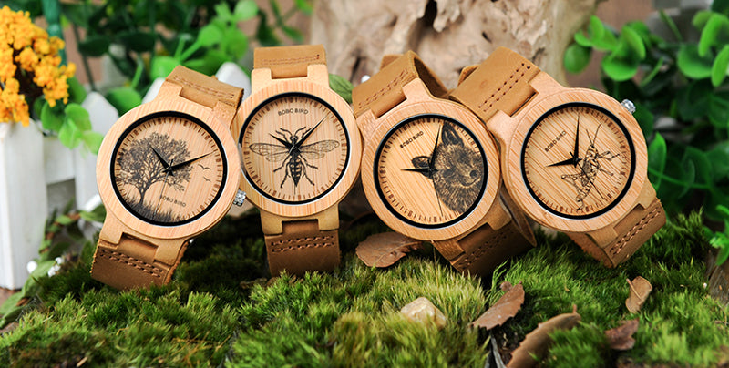 all the wildlife collection bamboo watches with leather straps