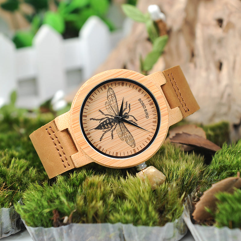 butterfly watch with bamboo and leather
