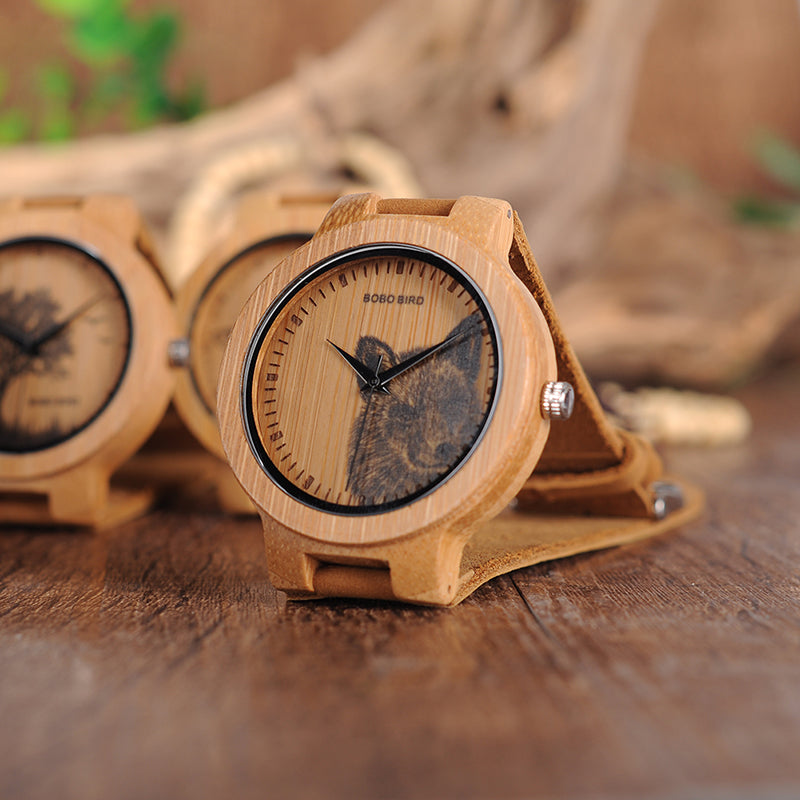 wolf watch with leather