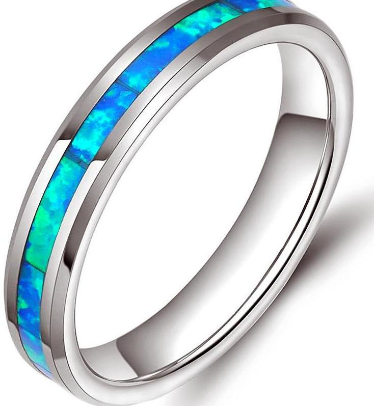 Tungsten Ring for women with fire opal inlay
