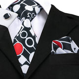 Geo Matrix Squares and Circles tie and Pocket square Set