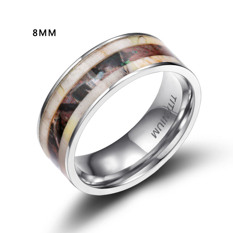 Antler/koa with titanuim 6mm and 8mm rings for him and her