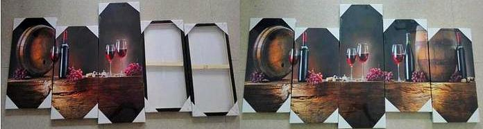 wall decor 5 piece set showing back with hooks framed