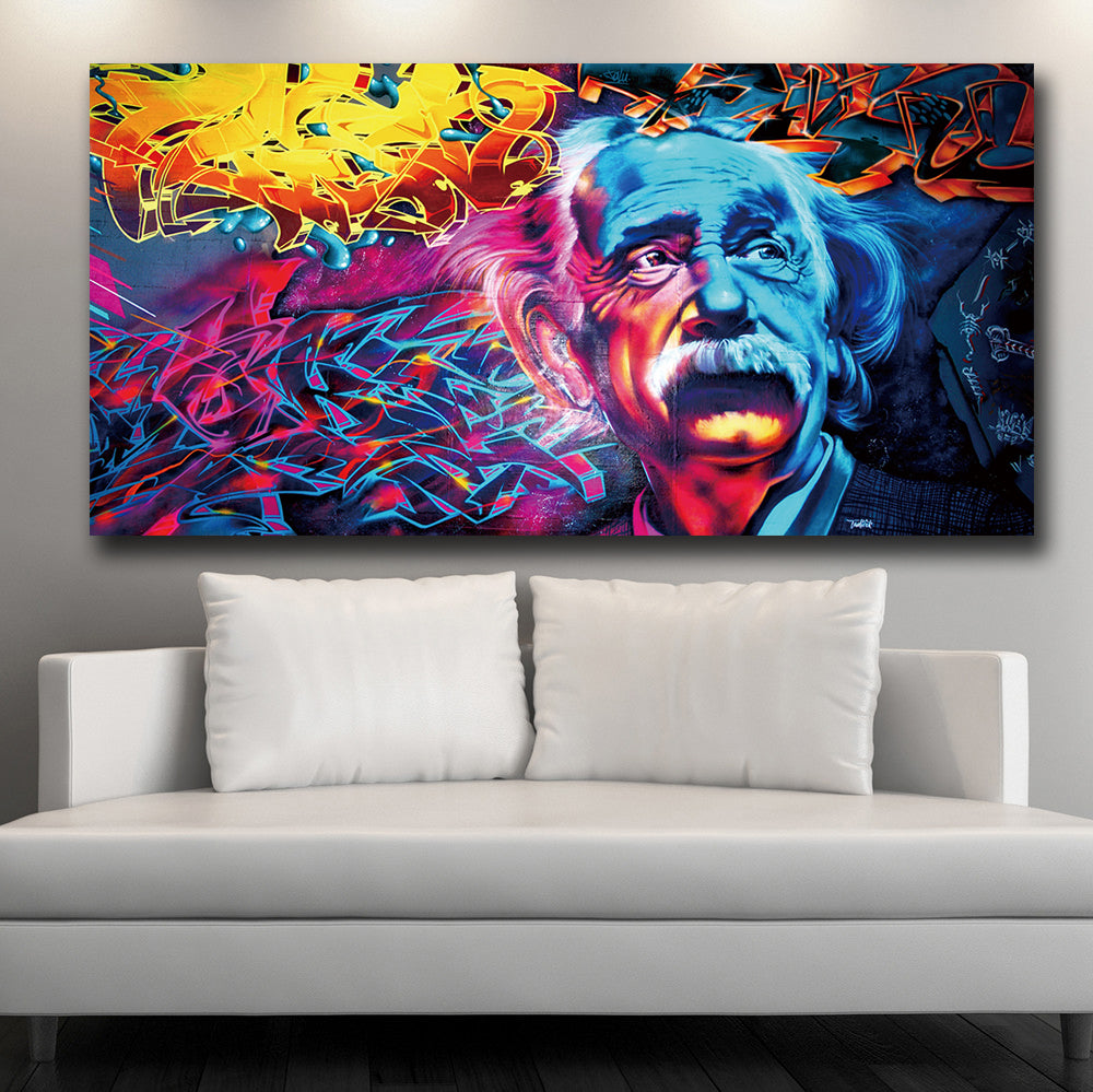 Large Size Graffiti Einstein  Canvas Art Print
