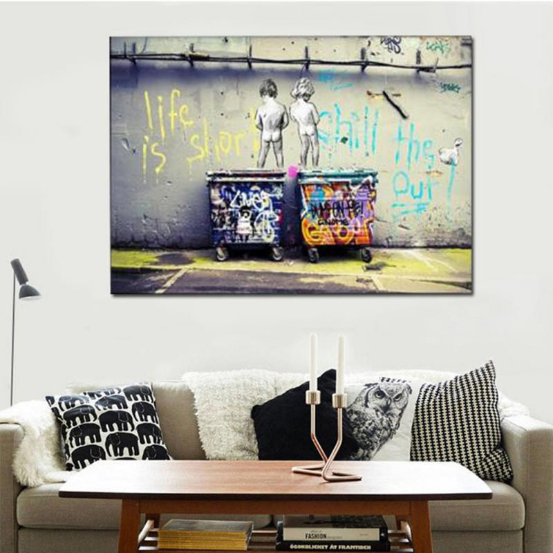 Little Boys Graffiti Canvas Oil Painting On Print