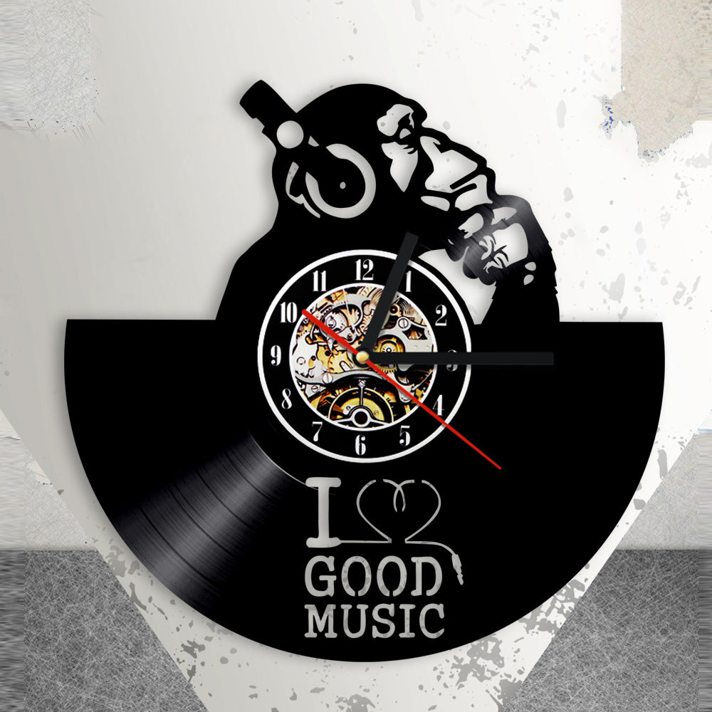 i love good music clock on ground showing display of monkey