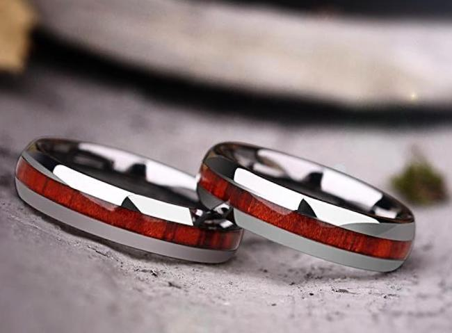 Tungsten Inlay with  Koa Wood for Women