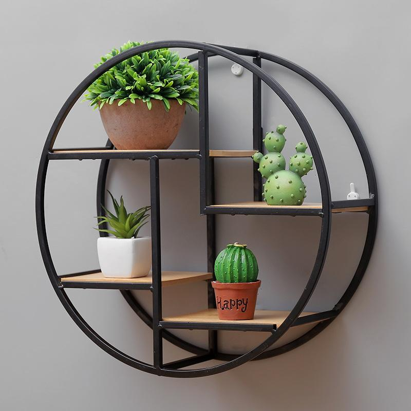 Wooden Retro Storage Racks Hanging Decor Storage Box Flower Pot House Storage Rack Wall Book Figurines Display Crafts Shelves