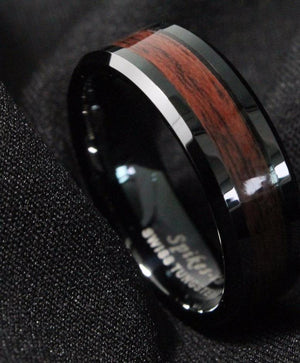 8mm Men's Tungsten Carbide ring Red Wood Inlay *clearance* Only 3 sizes available