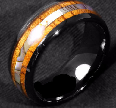 Clear coated tungsten wrapped ring with wood and shell
