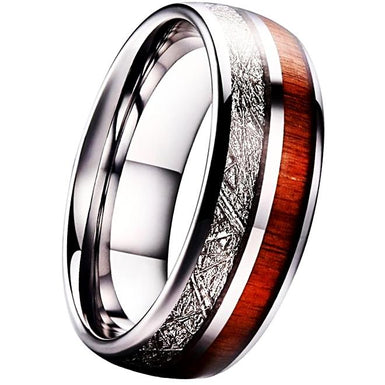 Mens Tungsten ring with meteor inlay and koa wood