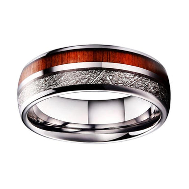 mens tungsten inlaid ring with meteorite koa wood shiny surface