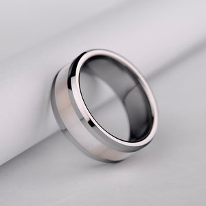 mens wedding ring in tungsten with mother pearl inset tension 8mm wide