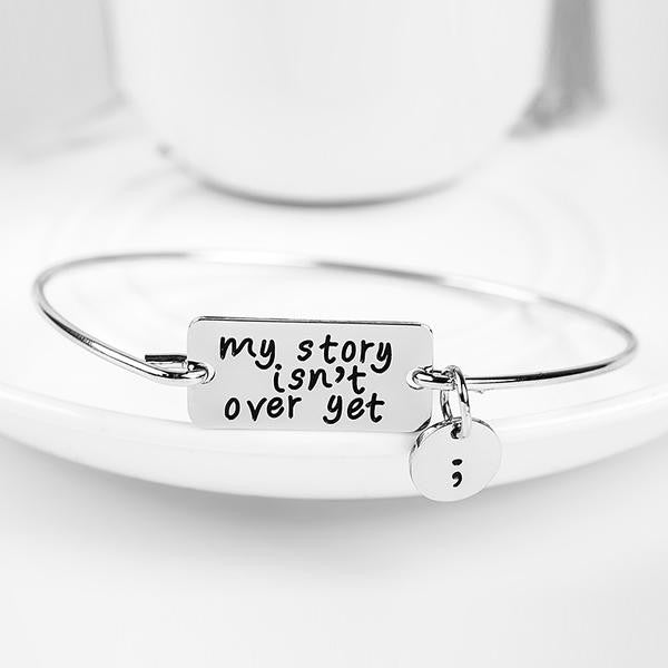Semicolon Silver Charm Bangle