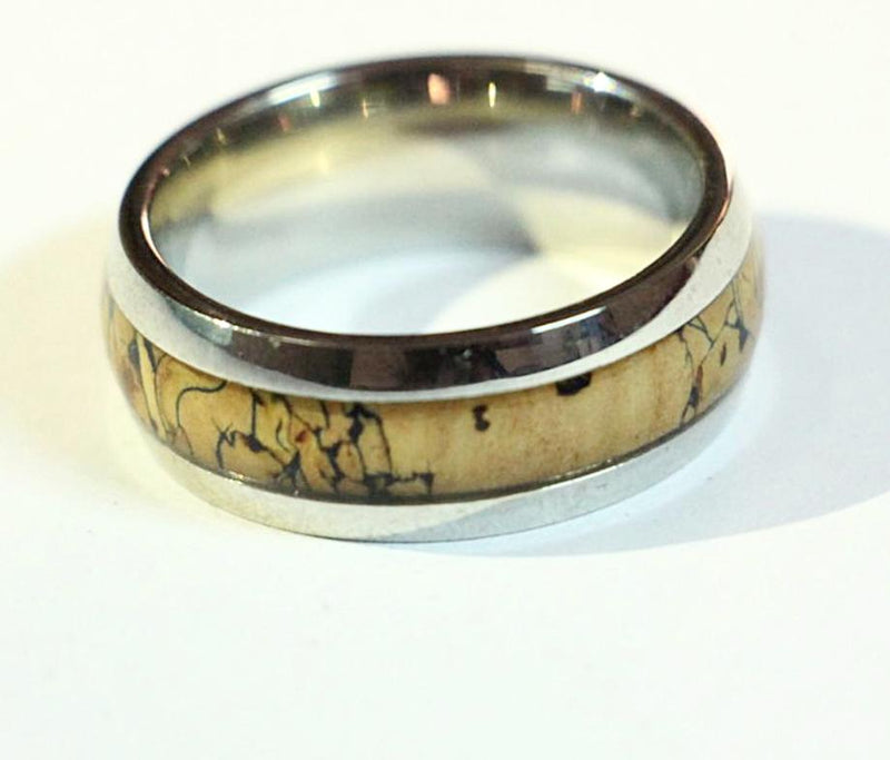 Rose Gold Stainless steel and inlaid rosewood Bevel Comfort ring