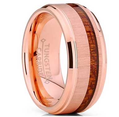 Tungsten Carbide Rose gold Plated  With Koa wood Inlay ring
