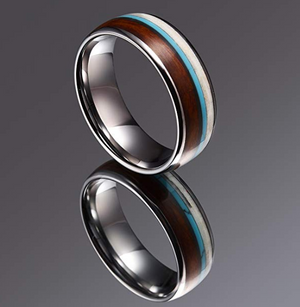 Wood & Calaite & Antler Inlay Tungsten Ring