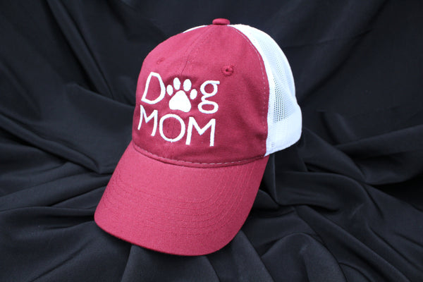 Dog Mom  - White Mesh Back with White Logo