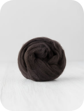 Extra fine merino (about 19 microns) wool tops/roving (Coffee). DyeingHouseGallery DHG