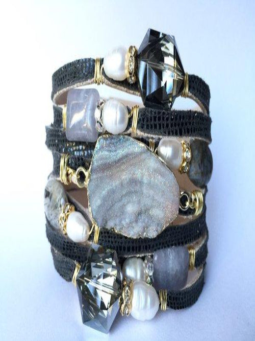 Leather Cuff Agate Bracelets With Pearls (Large)