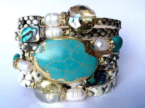 Leather Cuff Agate Bracelets With Pearls- Large
