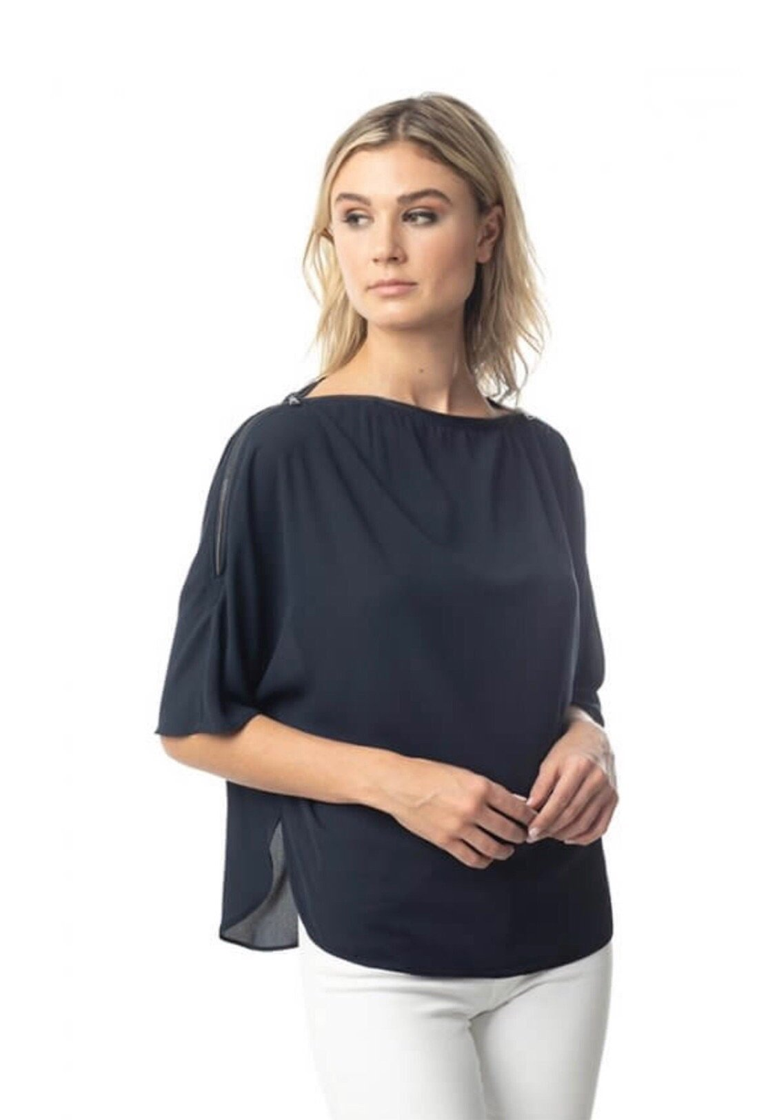 Three way zip shoulder top
