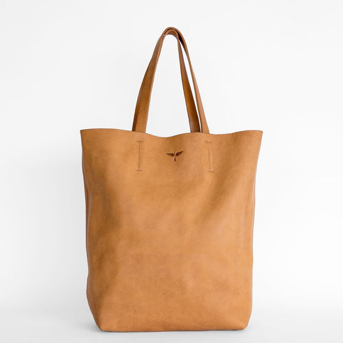 Large Tan Leather Tote Bag with Separate Matching Purse
