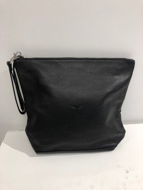 Large Black Leather Clutch with Tassle - SALE