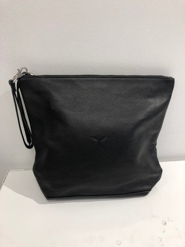 Large Black Embossed Leather Travel Bag - Sale