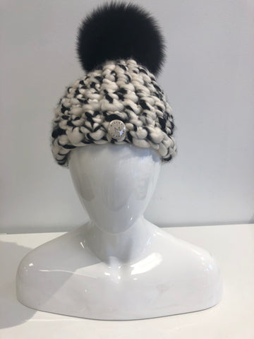 Hand Knit Rainbow Hat Mink Pom Pom - Sale