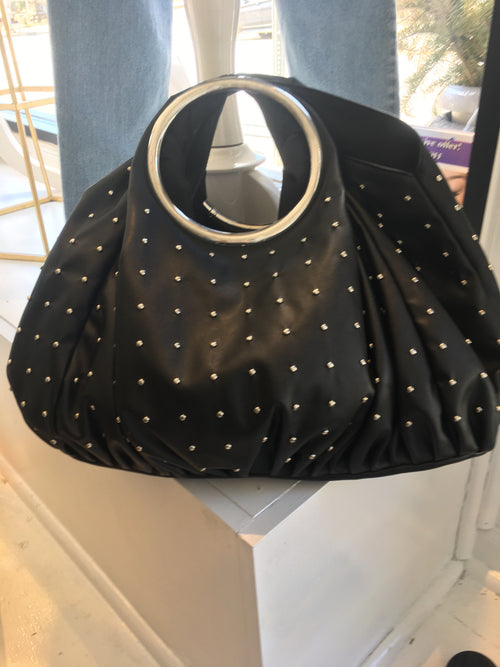 Large Black Studded Bag - Sale