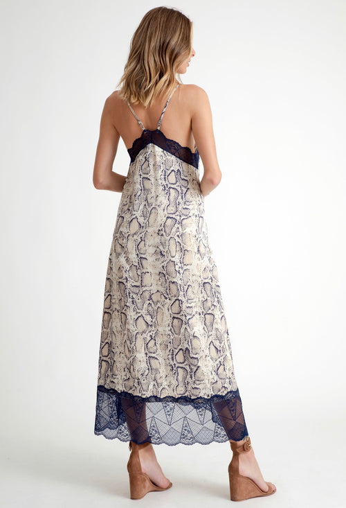 Snake Skin Dress with Blue Lace