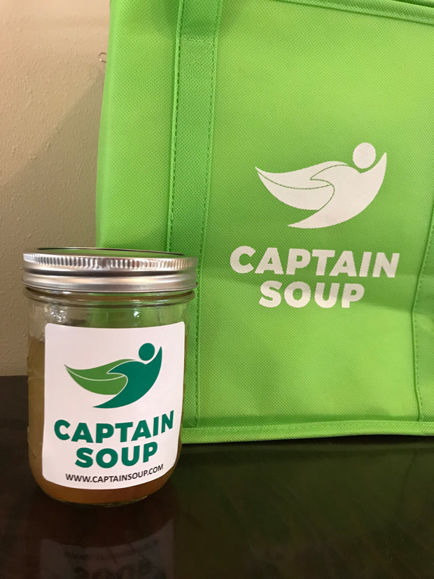 captain soup container and bag