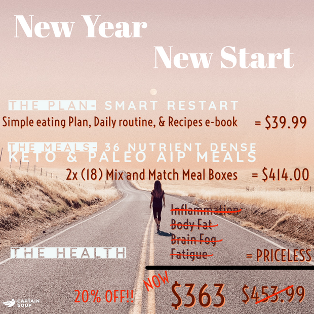 New Year - New Start package (Paleo AIP & Keto grab & go meals & Action Plan)
