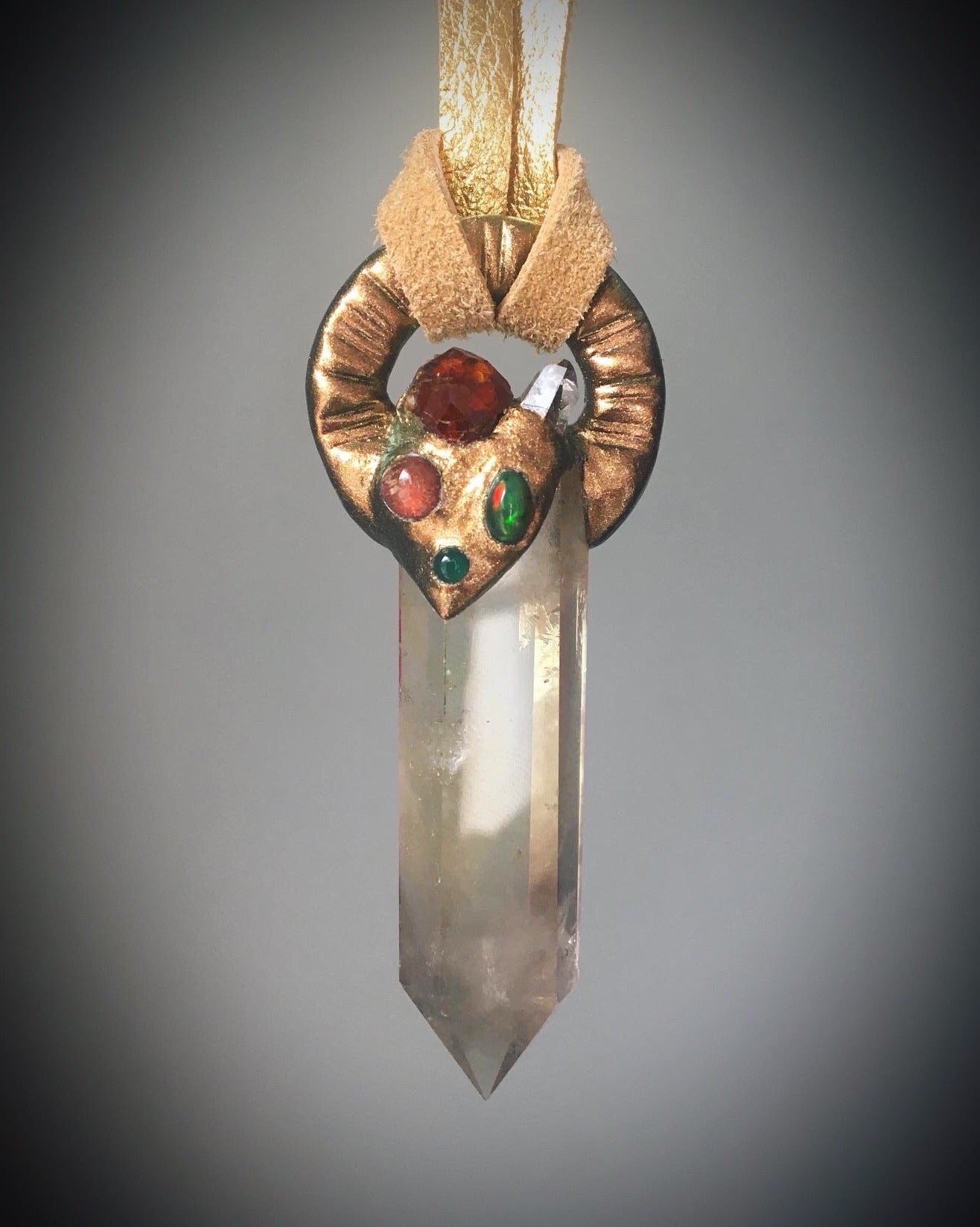 Citrine with Garnet, Black Opal, Pink Tourmaline, Arkansas Quartz and Green Chalcedony Talisman
