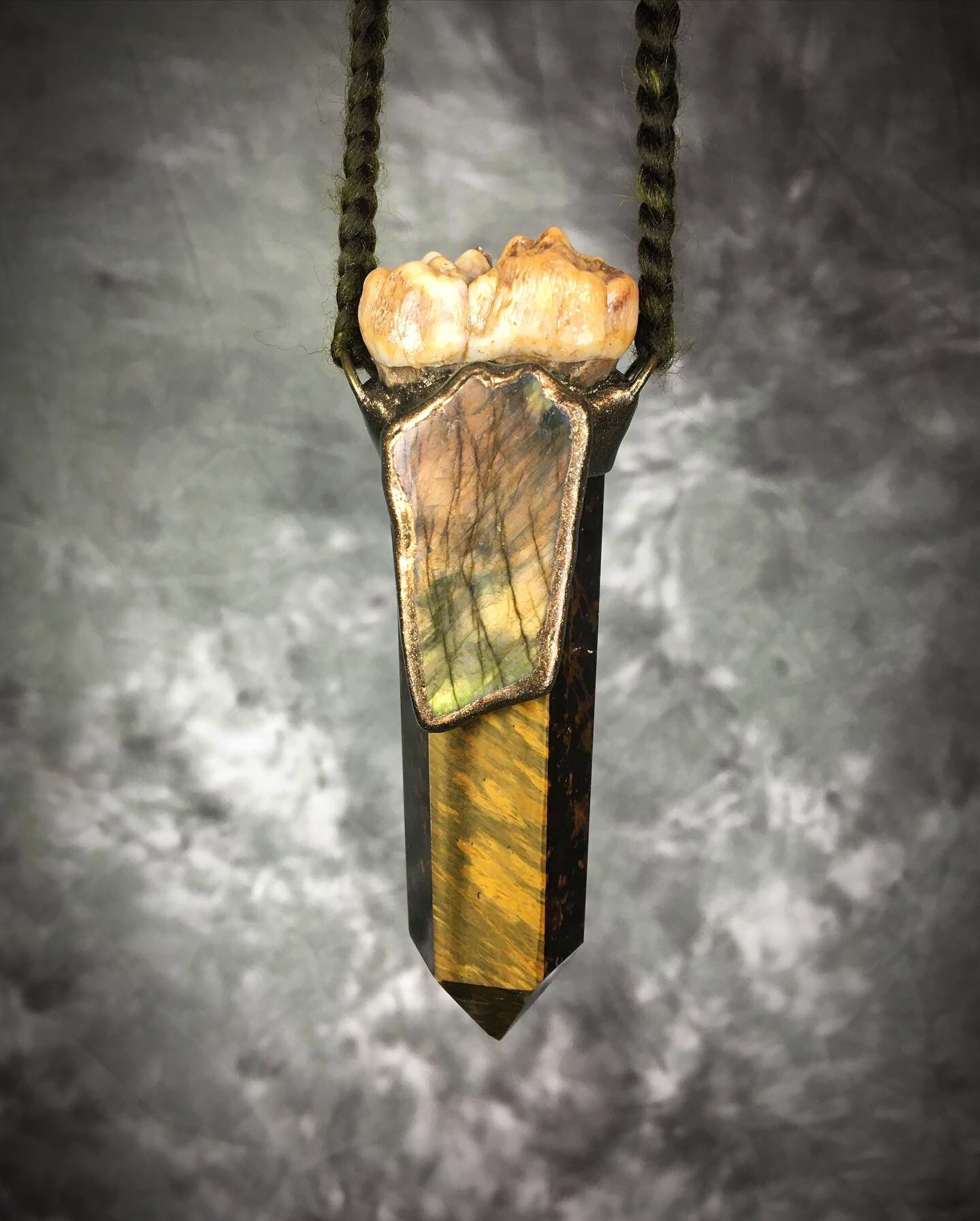 Tiger's Eye Point With Cave Bear Tooth and Labradorite Talisman