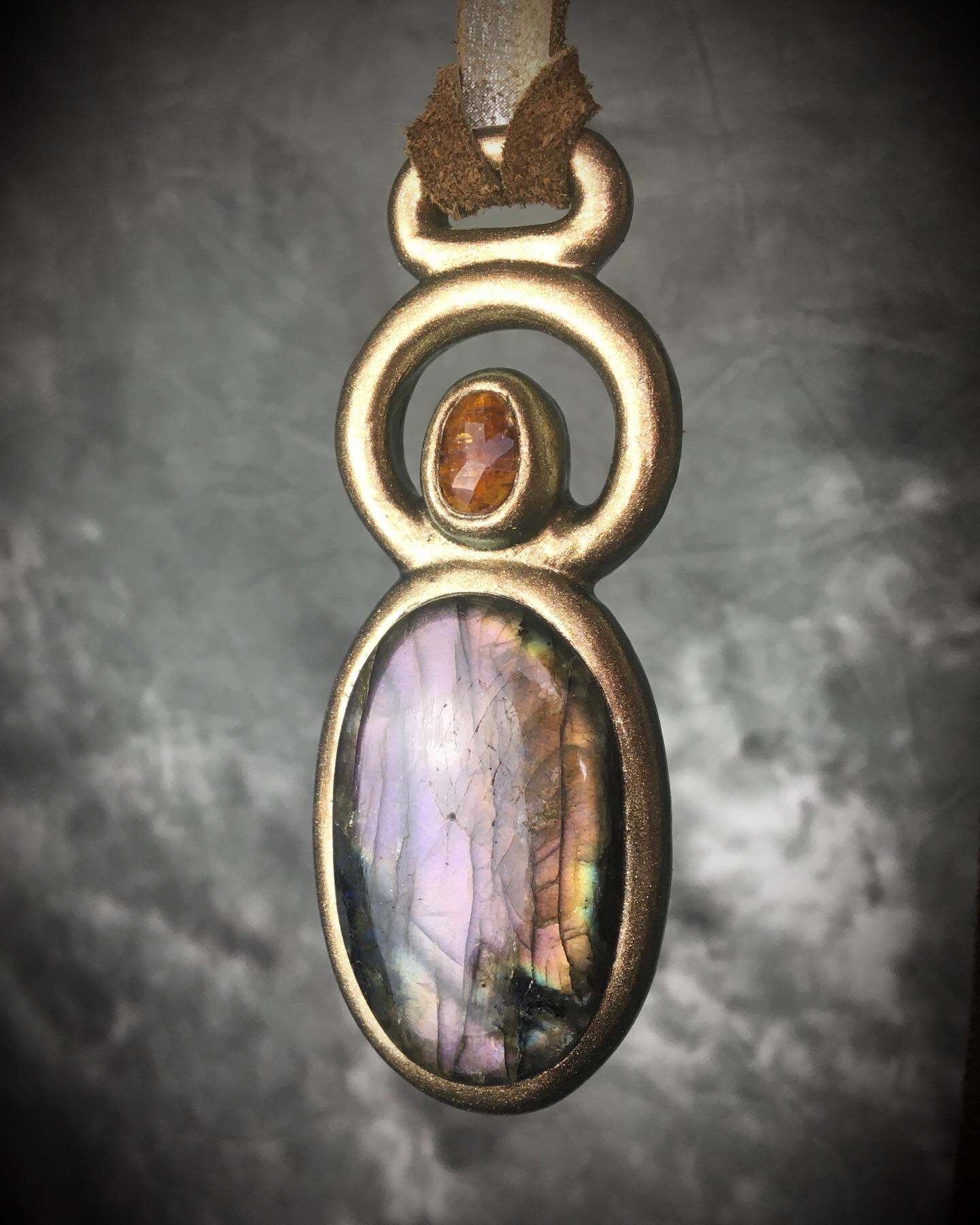 Violet Rainbow Labradorite and Orange Kyanite Talisman