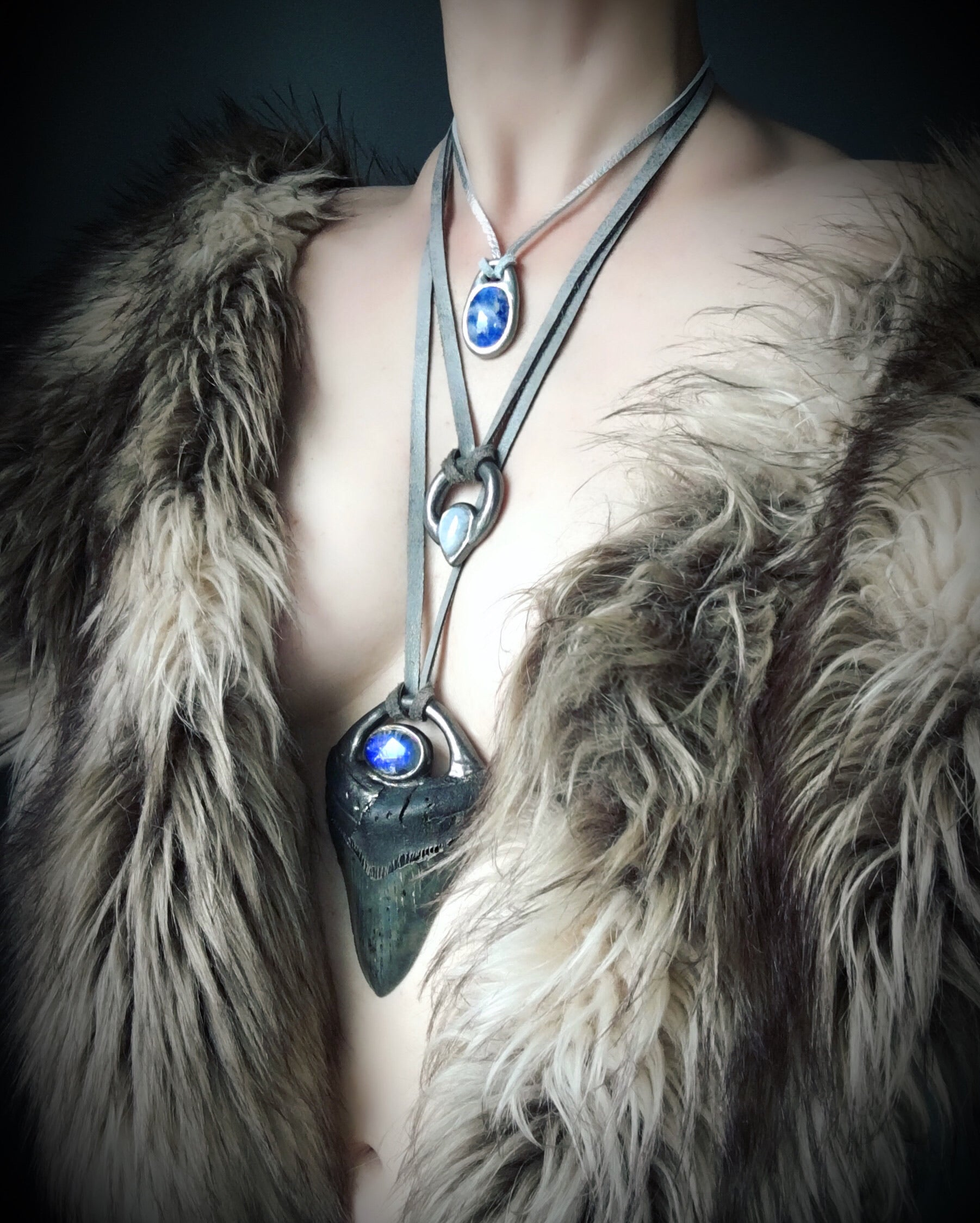 Megalodon Tooth with Blue Moonstone Talisman