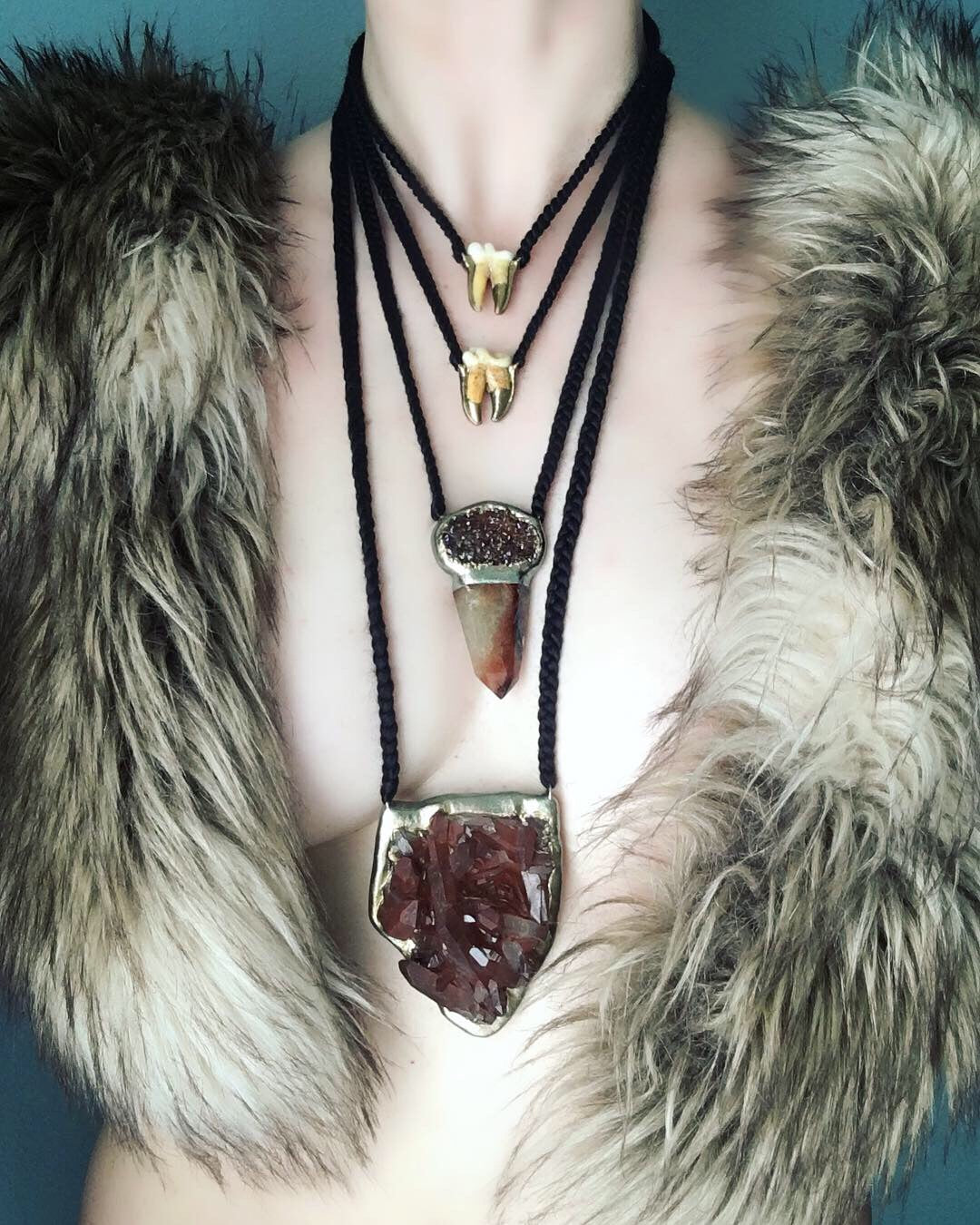 Red Druzy and Hematoid Rutilated Quartz Point Talisman