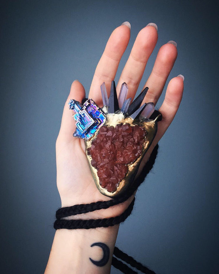 Red Hematoid Quartz with Bismuth, Black Tourmaline and Aqua Aura Quartz Queen Talisman