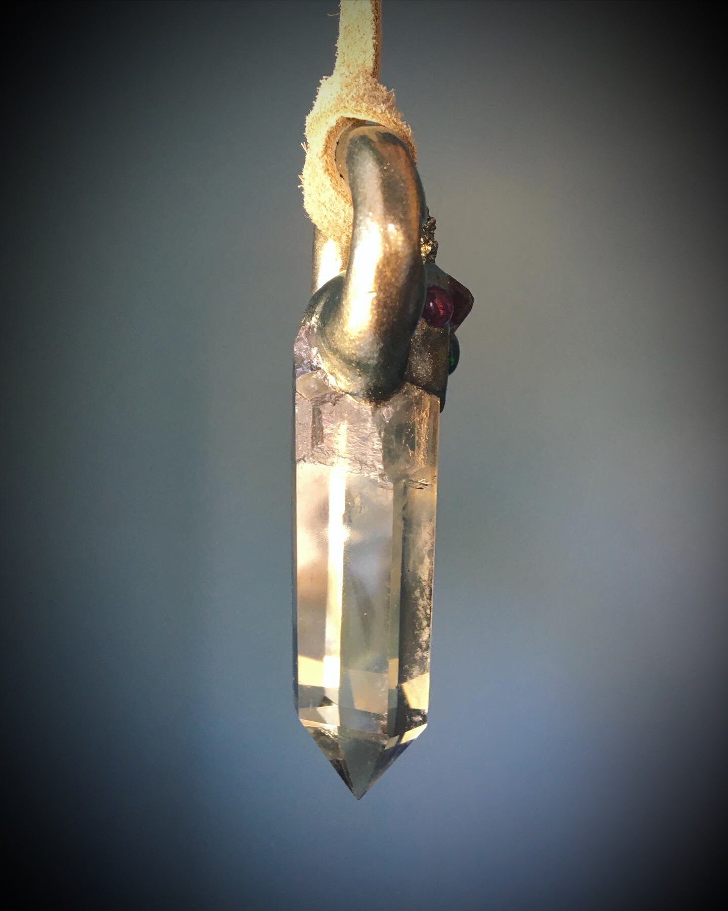 Citrine with Garnet, Black Opal, Pink Tourmaline and Pyrite Talisman