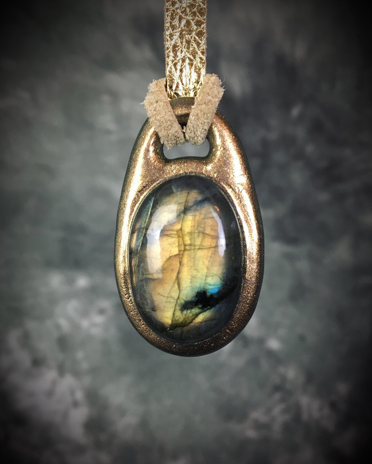 Golden Green Labradorite Talisman