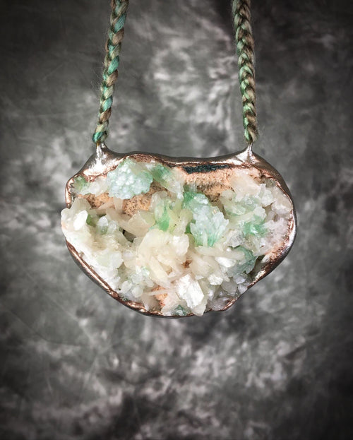 XL Minty Green Apophyllite and Peach Stilbite Talisman