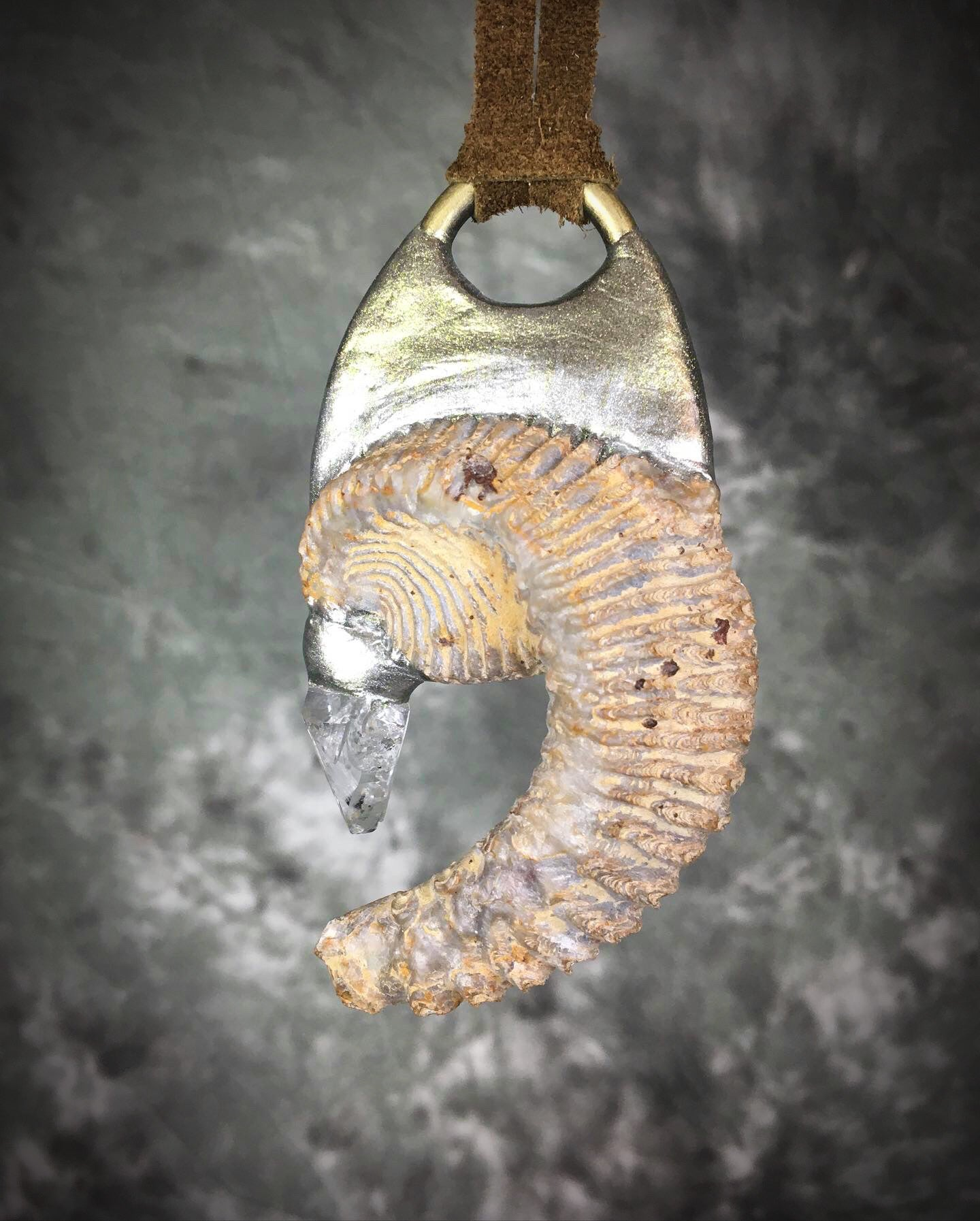 Fossilized Oyster with Quartz Talisman