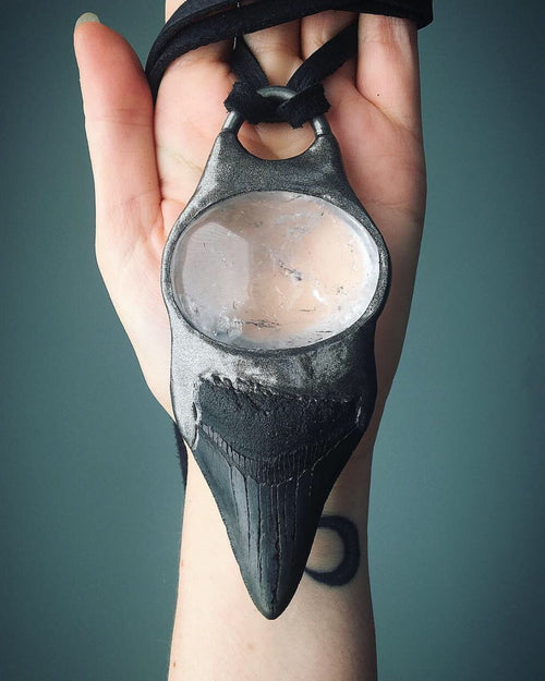 Megalodon Tooth with Quartz Talisman
