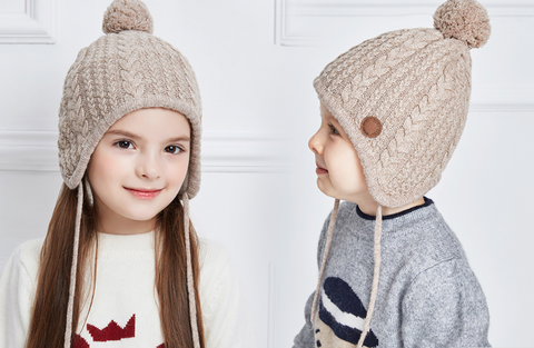 Kids Unisex Faux Fur Knitted Ears Beanie